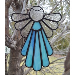 Stained Glass Angel Suncatcher Blue and Aqua  #412