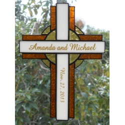 Personalized Stained Glass Cross Suncatcher #115