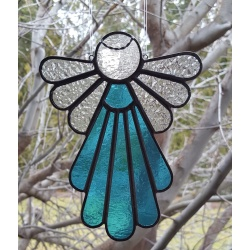Stained Glass Angel Suncatcher, Copper Blue  #402